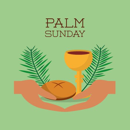 palm sunday hands bread and cup green background vector illustration