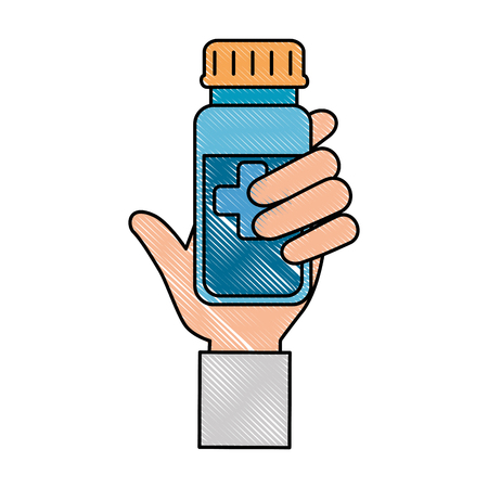 hand with bottle drugs isolated icon vector illustration design