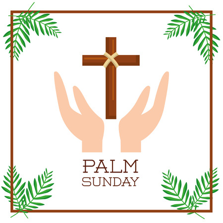palm sunday hand with branch passion christ vector illustration