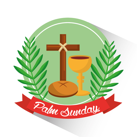 Palm Sunday badge poster vector illustration