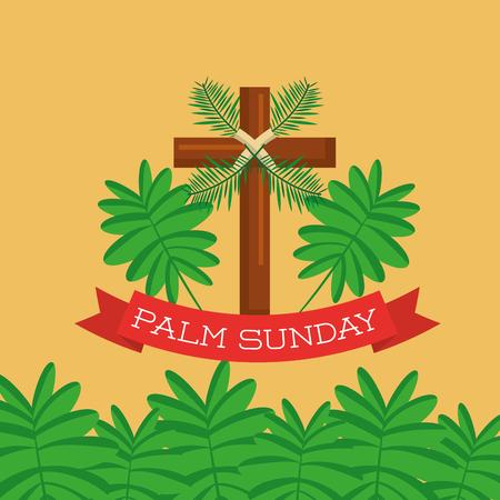 Palmzondag wenskaart cross branch christelijke viering vector illustratie