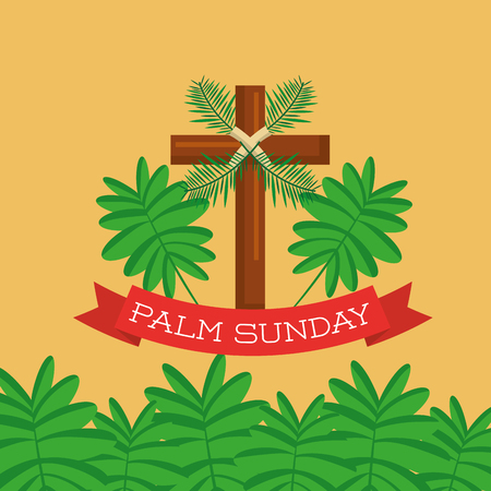 palm sunday greeting card cross branch christian celebration vector illustration