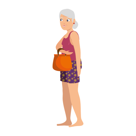old lady in beach outfit vector illustration design 向量圖像
