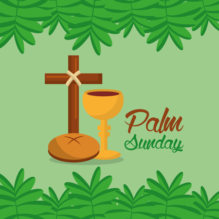palm sunday cross bread branch border green background vector illustration Illustration
