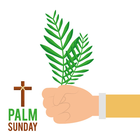 palm sunday hand holding branch faith celebration vector illustration Vettoriali