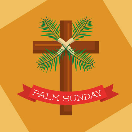 palm sunday branch ribbon decoration yellow background vector illustration
