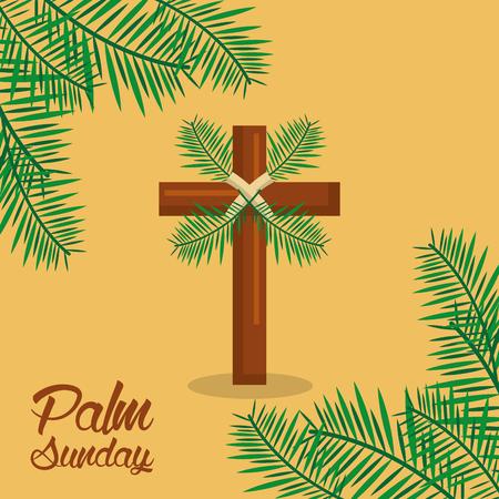 palm sunday holy week celebration sacred vector illustration Stock Illustratie