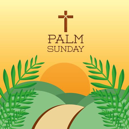 palm sunday cross hills sun branch card decoration vector illustration