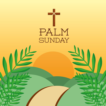 palm zondag cross heuvels zon tak kaart decoratie vector illustratie
