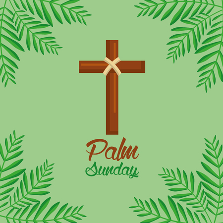 palm sunday cross and frond green background vector illustration