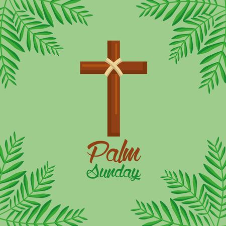 palm zondag kruis en varenblad groene achtergrond vector illustratie Stock Illustratie