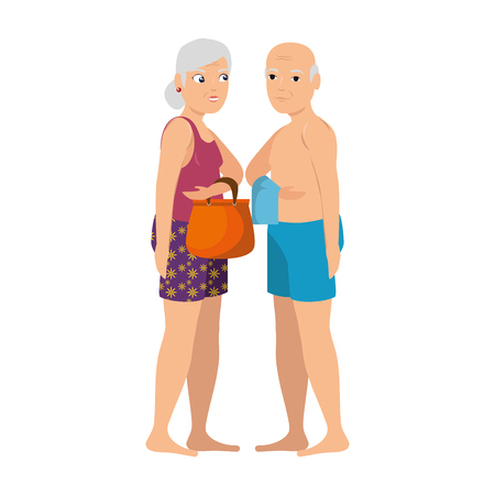 grandparents in beach outfit vector illustration design Illustration