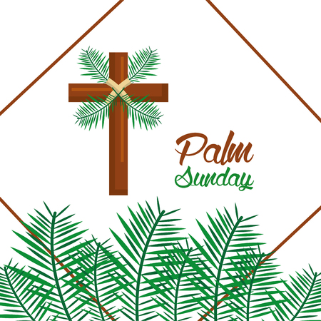 palm sunday happy easter celebration vector illustration