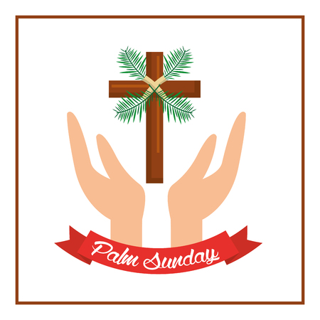 palm sunday passion christ hands with cross vector illustration Vettoriali