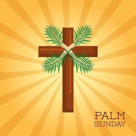 손바닥 일요일 십자가 축하 기독교 벡터 일러스트 레이션