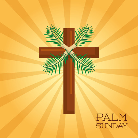 palm sunday cross card celebration christianity vector illustration Banco de Imagens - 94205764