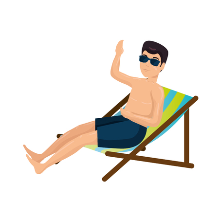 young man in swimsuit with beach chair character vector illustration design