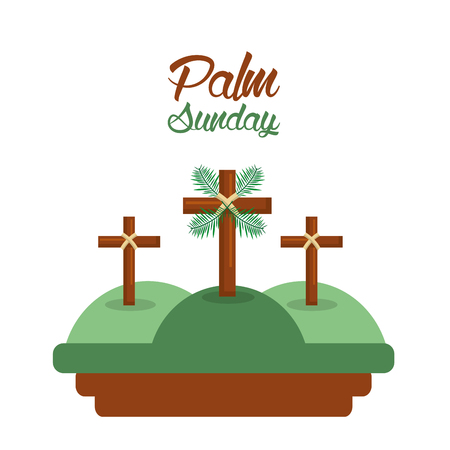 palm sunday three crosses in the hills card vector illustration