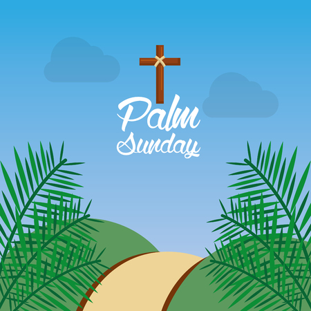 palm sunday hill path frond religious vector illustration