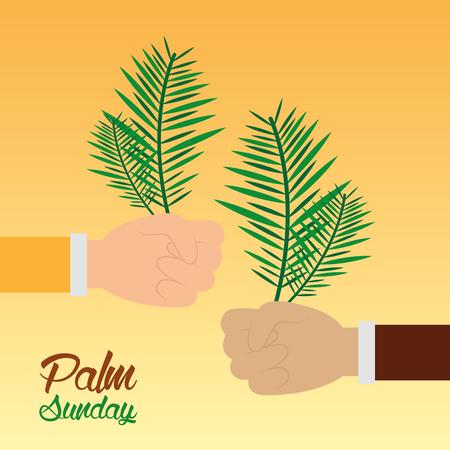 パーム日曜日の手を握る枝のお祝い宗教的ベクトルイラスト