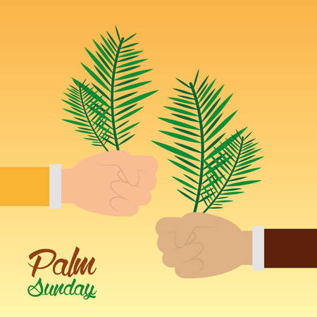 palm sunday hands holding branch celebration religious vector illustration