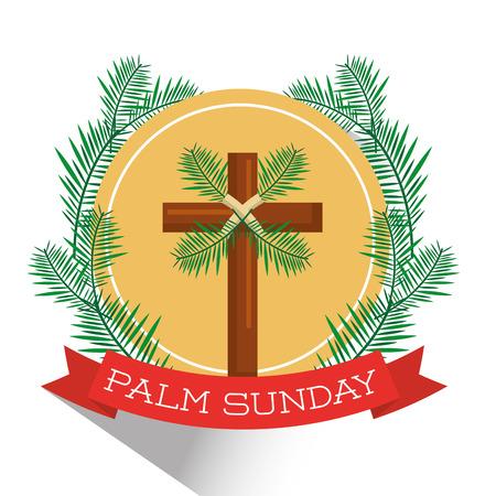 Palm Sunday badge vector illustration