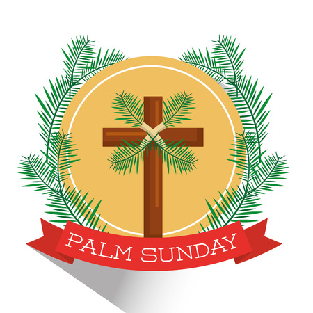 Palmzondag badge vectorillustratie Stock Illustratie