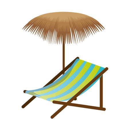Ligstoel met vector de illustratieontwerp van de palmparaplu