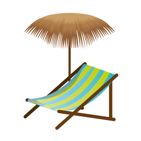 Beach chair with palm umbrella vector illustration design
