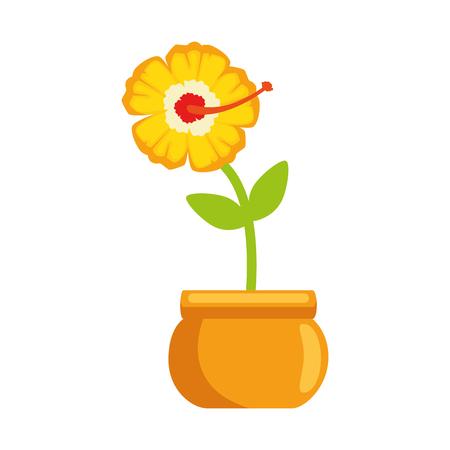 냄비 벡터 일러스트 디자인에 이국적인 꽃 일러스트