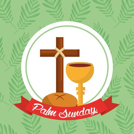 Palm Sunday bread cross cup ribbon green background vector illustration. Illustration