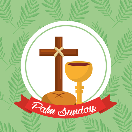 Palm Sunday bread cross cup ribbon green background vector illustration.