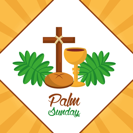 Palm sunday cross bread cup frond poster vector illustration