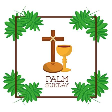 Palm Sunday card invitation celebration religious vector illustration.