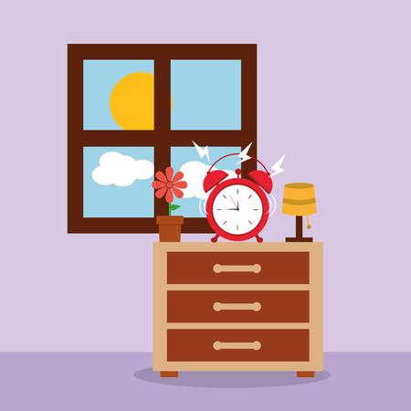 ベッドサイドテーブル上の目覚まし時計アラート朝の窓ベクトルイラスト  イラスト・ベクター素材