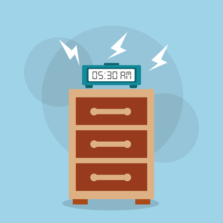 Digital clock alarm on bedside table vector illustration