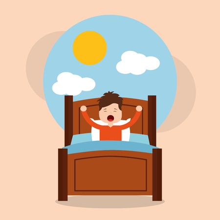 Little boy wake up in the morning cloud sun landscape vector illustration