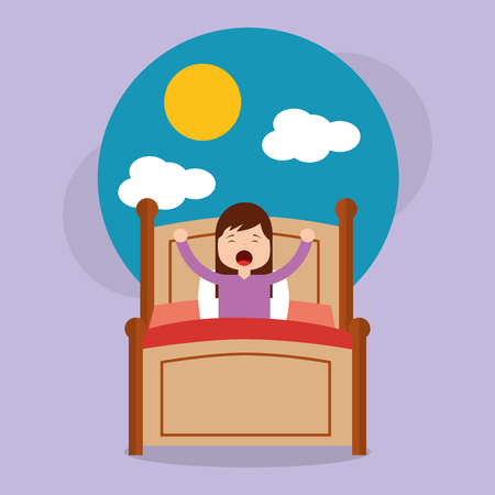 Girl in bed waking up in the morning with cloud and sun vector illustration