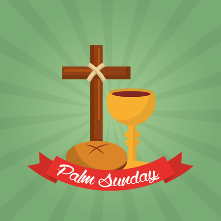 Palm Sunday christian celebration green background vector illustration.