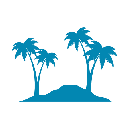 Beach with palms scene. Vector illustration design.