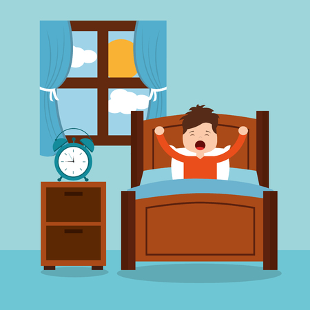 little boy wake up in the morning vector illustration