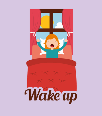 the cute girl wakes up in the morning vector illustration