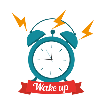 wake up clock alarm banner vector illustration Illustration