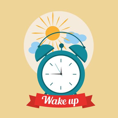 wakker goedemorgen poster met wekker en wolken vector illustratie Stock Illustratie