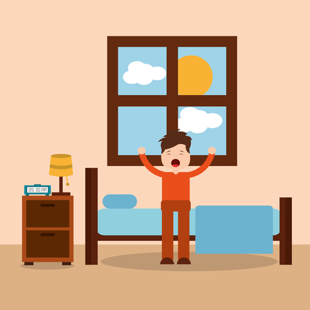Morning bedroom cartoon character waking up stretching vector illustration.