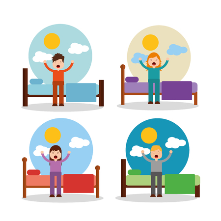 boy and girl waking up in bed stretching sunny day vector illustration Illustration