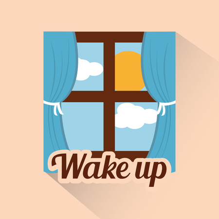 wake up window morning cloud sun day vector illustration Ilustrace