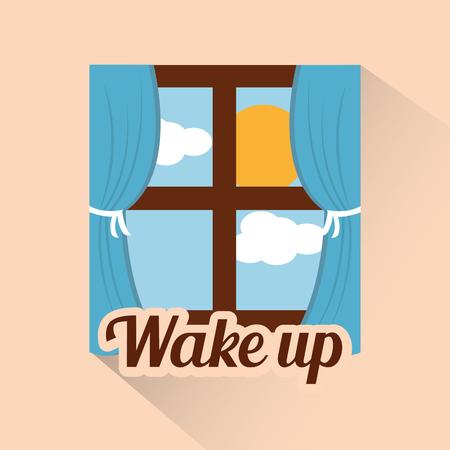 wakker venster ochtend wolk zon dag vector illustratie Stock Illustratie