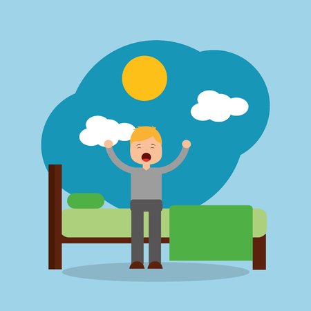 man waking up in the morning stretching sitting on his bed sunshine vector illustration