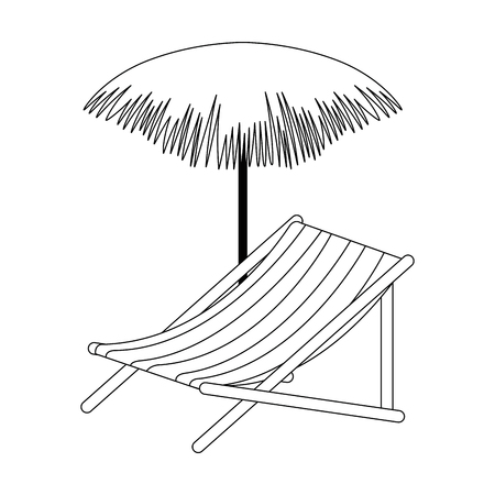 beach chair with palm umbrella vector illustration design Illustration